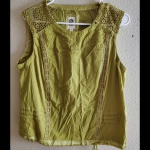 Anthropologie Tiny Green Crochet Lace Boho Top